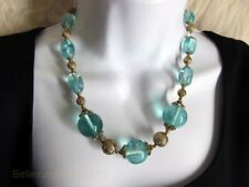 Carolee Chunky Statement Necklace Antique Gold Blue Green Beads Fast Free