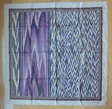 "Lg JIM THOMPSON Thai Silk Scarf Purple Abstract Flame Pattern NWOT 34"" Square"