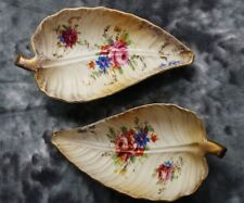 Vintage Collectible Two Small Ceramic Decorative Leaf Shaped Dishes U.S.A.