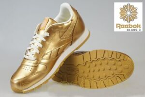 Reebok Classic Gold Metallic Girls LEATHER Sneakers Trainers
