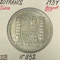 20 FRANCS TURIN - 1937 - Pièce de Monnaie en Argent - TTB
