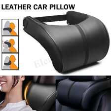 2 Black Leather Car Auto Memory Foam Pillow Seat Head Neck Headrest Rest Cushion