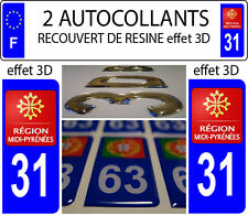 2 stickers plaque immatriculation auto TUNING DOMING RESINE MIDI PYRENEES DEP 31