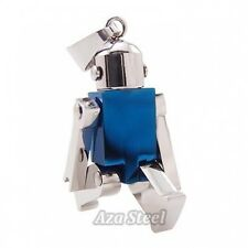 "Silver Blue Robot Stainless Steel Pendant with 21"" Chain Necklace"