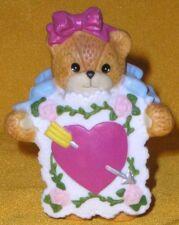 Porcelain Lucy Rigg & Me Teddy Bear Valentine Card Figurine 1991 Heart w/ Arrow