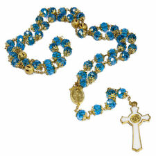 """Rosary Beads Blue Crystal Beaded Gold Plated INRI Necklace Miraculous Medal 24"""""""