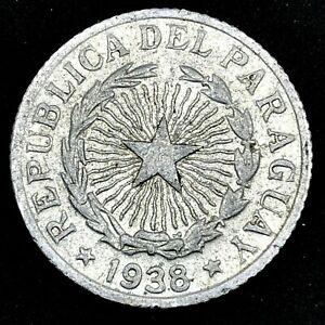 Paraguay - 1938  2 Pesos - Aluminum - Rare Coin KM# 17