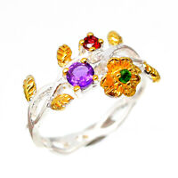 18k Yellow gold solid Natural Amethyst 925 Sterling Silver Ring / RVS215