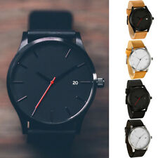 New Men's Boy's Leather Date Watch Waterproof Quartz Business Wrist Watches