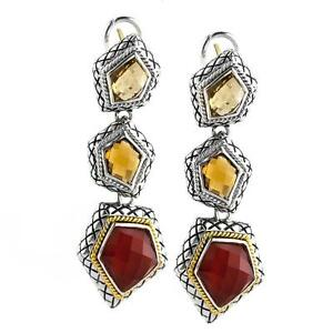 Andrea Candela 18k Gold Sterling Gemstone Chandelier Cable Earrings ACE339-WCRA