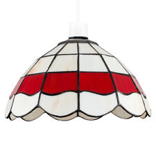 Vintage Style Pendant Light Shade Cream  Red Stained Glass Ceiling Lampshade