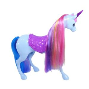Mattel Barbie Dreamtopia Blue Unicorn Rainbow Hair Saddle Toy Horse 2015