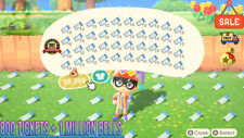 Animal Crossing New Horizons 800 NMT 🎫 Nook Miles Ticket + 1 MILLIONS BELLS 🔔