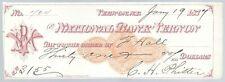 Scheck / Cheques USA - National Bank of Vernon - !! 1877 !!