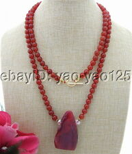 "S030807 43"" 35x60mm Red Agate&Crystal Necklace"