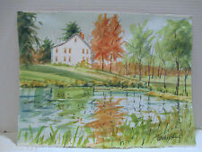 "Original Watercolor Farm in New England, 11"" x 15"", Signed: Wilkish, Unframed"
