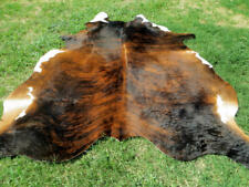 NEW LARGE BRINDLE BROWN Cowhide Rug natural Cowhides Cow Hide Skin 6X6 FEET RRS.