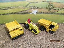 LOT OF 3 MATCHBOX 2 DUMP TRUCKS AND 1 ROLLER PLAYED WITH CONDITION - NO BOX