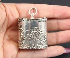 Miniature Antique Continental 800 Silver Cherubs Trinket Pill Box Tea Caddy, NR