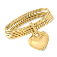Italian Andiamo 14kt Yellow Gold Over Resin Heart Charm Multi-Bangle Bracelet