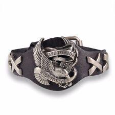 Black Leather Live To Ride Bracelet - Eagle Harley Rider Biker Unisex Wristband