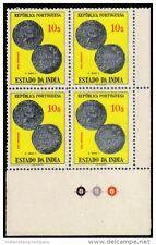 PORTUGUESE INDIA 1959, GOA-Coin of Ruler Redrov-MNH-Corner Block of 4-4th Positi