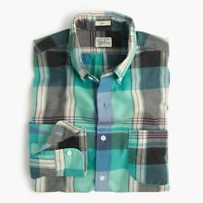 J. Crew Indian Madras Men's Slim Fit Lightweight Plaid Shirt in Teal Surf NEW L