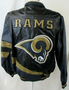 St Louis Rams Mens L or 2XL Embroidered Full Zip All Leather Jacket B1 508