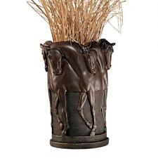 "12"" Art Deco Vase with Horses Replica Reproduction (BRONZE finish)"