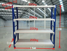 800kgs Heavy Duty Garage Racking Warehouse Shelving 1.5m x 2m x 0.6m