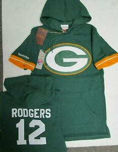 AARON RODGERS GREEN BAY PACKERS Mitchell & Ness Hoody Short Sleeve Jersey