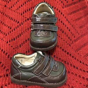 See Kai Run Forest Green & Brown Leather Shoes Strap Closure Size 3 EUC