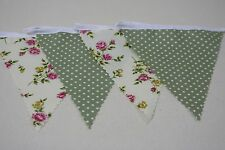 Cream Rose and Sage Green Mini Spot Cotton Single Side Bunting 4m