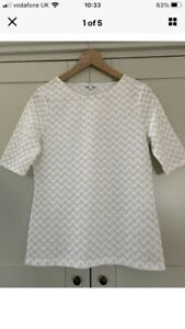 Reiss Stunning White And Gold Short Sleeve Woven T Shirt/ Top Small (S)