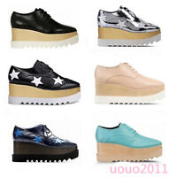 Fashion Women Lady HIgh Creeper Lace Up Platform Shoes Casual Oxfords Shoes Size