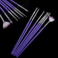 7 X Nail Art Design Pen Painting Dotting Brush Set Purple Make Up Tools Pop.