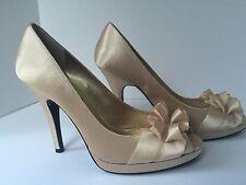 Elegant NINA NEW YORK Champagne Gold Beige Satin Peep Toe Platform Heel Pump 10