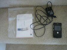 At&T Cingular Motorola Razr V3 Black Flip Cell Phone w/Cord - No Battery - Works