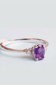 9CT WHITE GOLD AMETHYST AND DIAMOND ACCENT OVAL RING Sizes available L,M,N,O