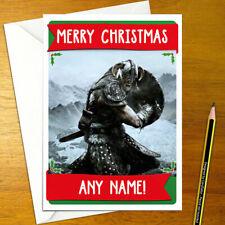SKYRIM Personalised Christmas Card - dragonborn elder scrolls happy xmas holiday