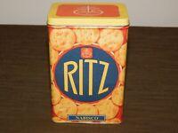 "VINTAGE KITCHEN FOOD 6 1/2"" HIGH 1995 NABISCO RITZ CRACKERS TIN CAN BOX  *EMPTY*"