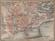 Brest ville city plan de la ville. finistère. rade de brest carte 1905 old map