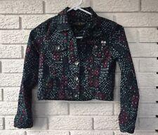 Lucky Brand Blue/Red/Green Aztec Print Button Down Jean Jacket Girls Medium EC