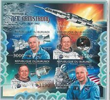 BURUNDI- ERROR, 2012 MISSPERF SHEET: NEIL AMSTRONG, ASTRONOMY, APOLLO 11, SPACE