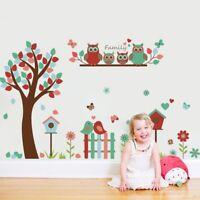 Owl Family Bird House Tree Wall Stickers Decals Mural Nursery Room Decor