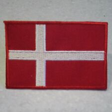 Denmark , Danish Flag . Sew on Patch  (7.0cm x 4.7cm)