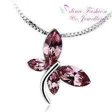 18K White Gold GF Made With Swarovski Element Delicate Butterfly Purple Necklace