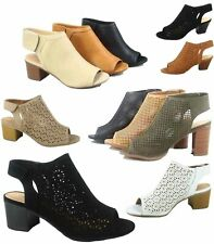 772455dae83 Women s Sexy Peep Toe Perforated Chunky Heel Sandals Shoes Size 5.5 - 11 NEW