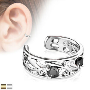Filigree Branch Cut Out with Prong Set Black CZ Non-Piercing Ear Cuff