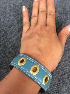 Stunning  Coach blue leather gold tone Bangle bracelet